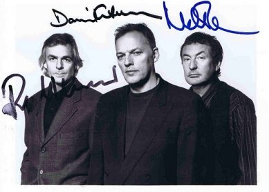 Pink Floyd Autographs photo david gilmour, nick mason and richard wright