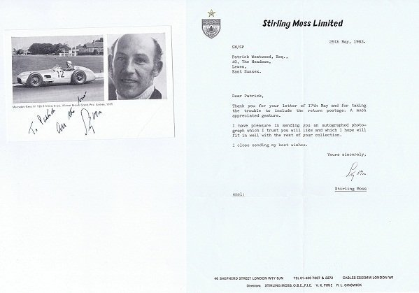 Stirling Moss Autograph photo and letter for sale