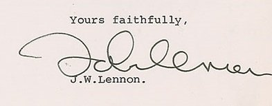 John Lennon 1972 signed document