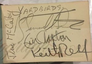 The Yardbirds Autographs with Eric Clapton, Keith Relf, Jim McCarty andPaul Samwell-Smith