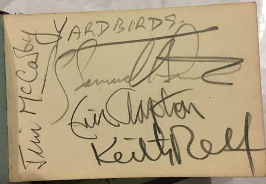 the yardbirds autographs with eric clapton keith relf and jim mccarty. Black Bedroom Furniture Sets. Home Design Ideas