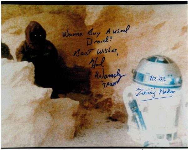 Kenny Baker R2-D2 and Hal Wamsley Jawa from Star Wars autographs