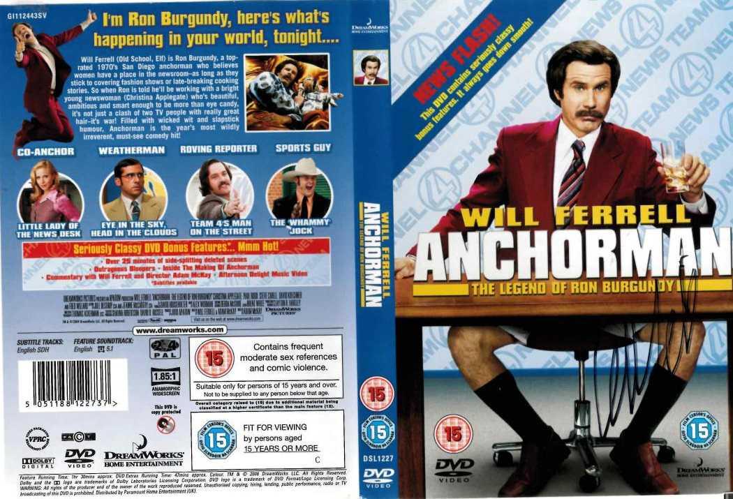 will ferrell autograph anchorman dvd cover movie
