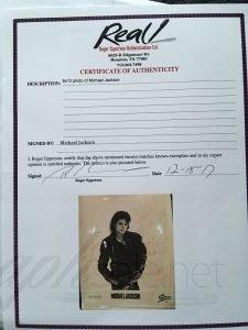 Michael Jackson autograph roger epperson coa