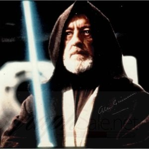 Alec Guinness Autograph Obi-Wan Kenobi Star Wars 8×10. Hand signed in silver marker by Guinness.