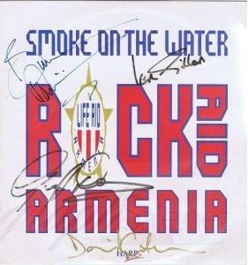 Rock Aid Armenia Autographs David Gilmour, Ian Gillan, Bruce Dickinson and Geoff Downes