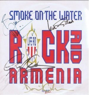 Rock Aid Armenia Autographs David Gilmour, Ian Gillan, Bruce Dickinson and Geoff Downes