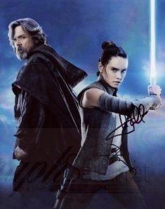 Mark Hamill and Daisy Ridley Autograph Star Wars photo The Last Jedi