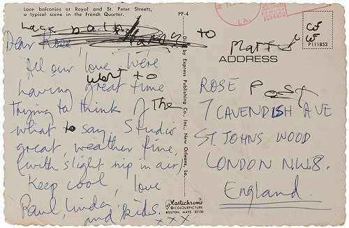 paul mccartney signed postcard