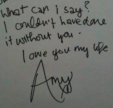 Amy winehouse handwritten note signed