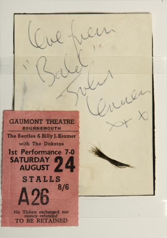 John Lennon autograph valve and hair