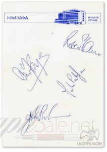 Led Zeppelin autographs and autograph examples 1970_iceland_hotel