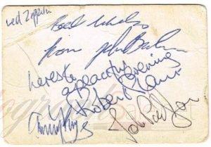 Led Zeppelin autographs early set