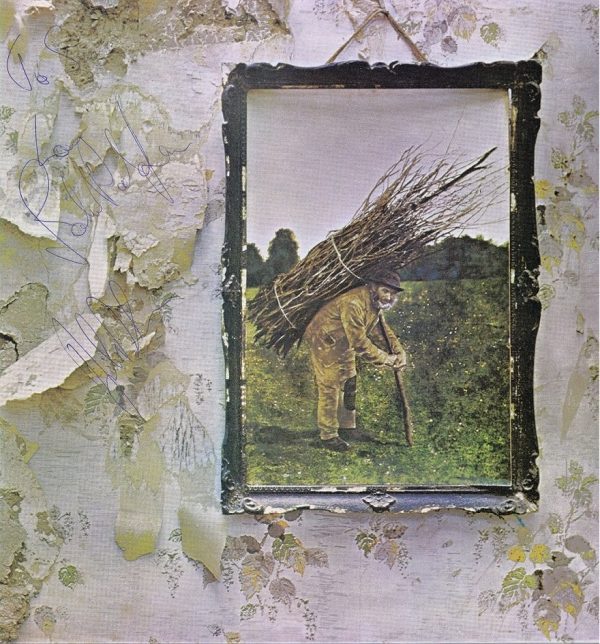 Led Zeppelin 4 autographs by John Bonham, Robert Plant and John Paul Jones