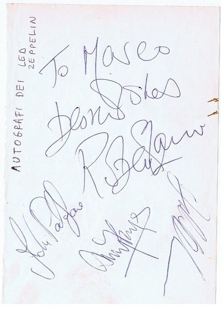 led-zeppelin-autographs- LED ZEPPELIN MEMORABILIA