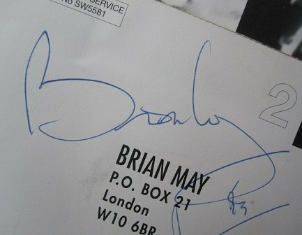 Brain May 1993 autograph Queen