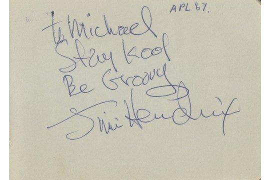 Jimi Hendrix Autograph 1967