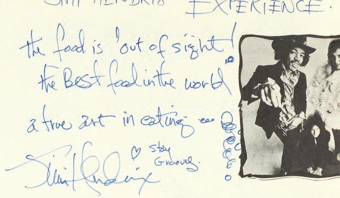 Jimi Hendrix autographs 1969 memorabilia signed