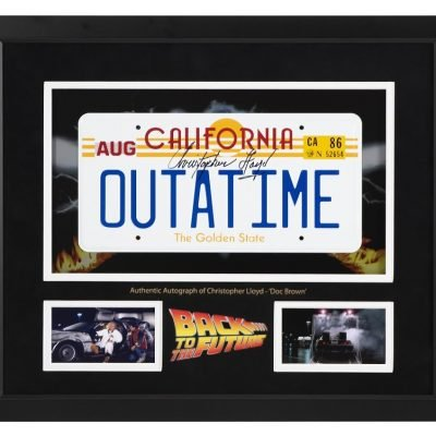 Christopher Lloyd signed OUTATIME Number plate | Back to the Future