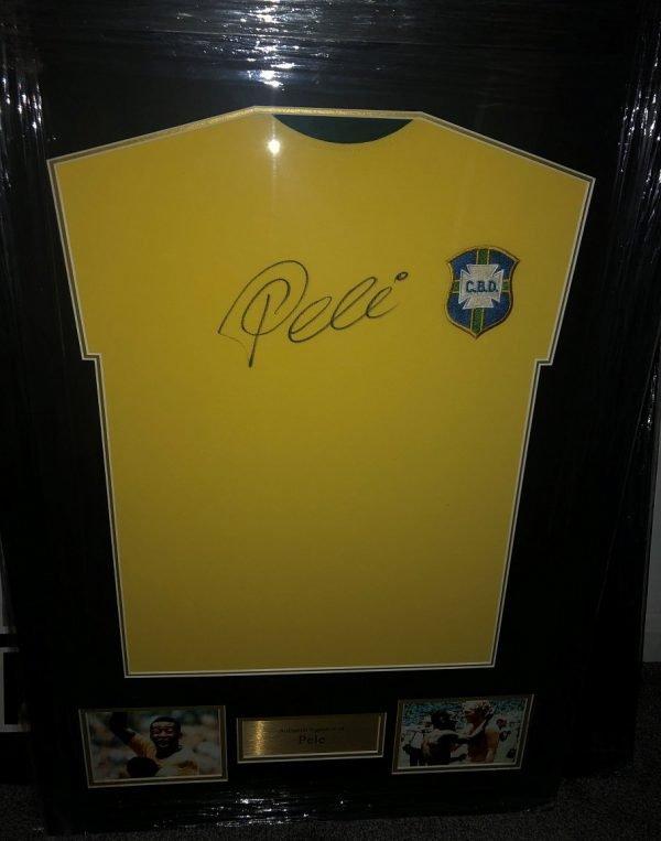 Pele Autograph Brazil Shirt | Authentic Football Autographs