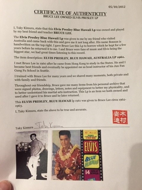 Bruce Lee owned Elvis Presley album personally owned memorabilia