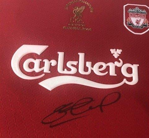 Liverpool autographs steven gerrard shirt