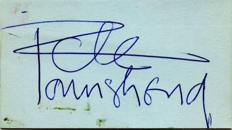 Pete Townshend autograph 60s the who