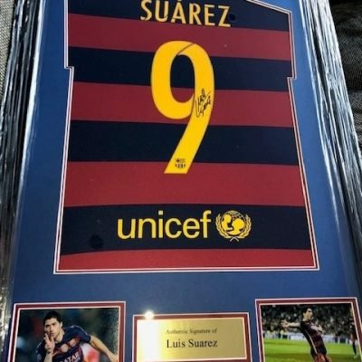 Luis Suarez autographed Barcelona Football Club Strip #9