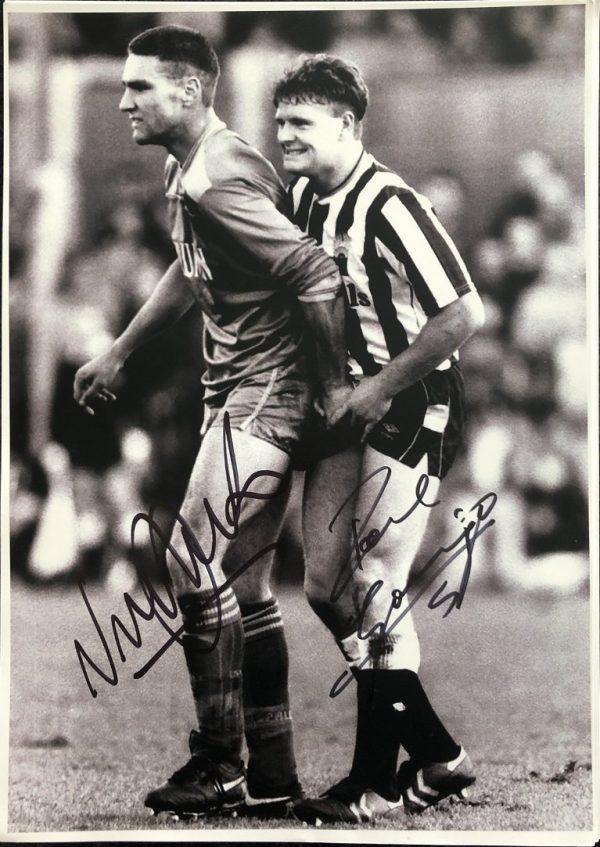 Vinnie Jones Paul Gascoigne Autographs Gazza signed photograph