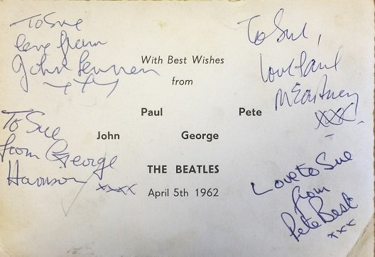 the beatles autographs from 1962