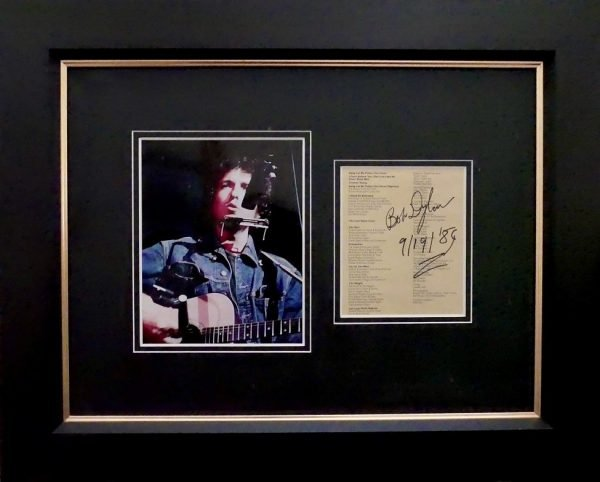 Bob Dylan Autographed The Last Waltz set list
