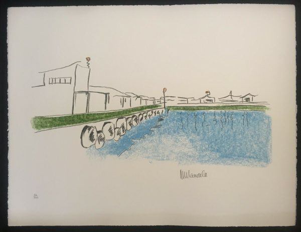 """Nelson Mandela Signed """"The Harbour"""" Lithograph Robben Island Series 1"""