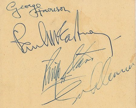 Oct 1964 beatles signed page