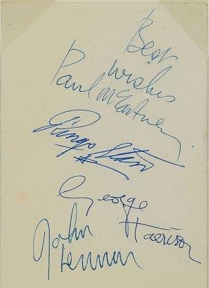 The beatles signatures Oct 1962