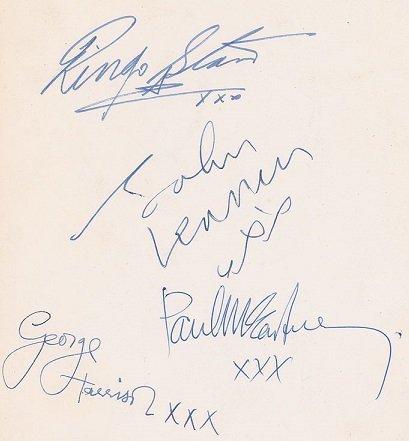 The beatles signatures Oct 1963