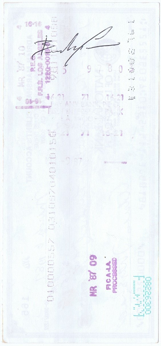 Brandon Lee Signed Cheque Authentic Document Check Bruce Lee son