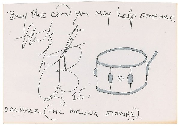 charlie watts rolling stones autograph sketch 2016