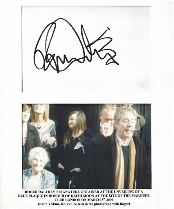 Roger Daltrey the Who authentic autograph March 2009 Keith Moon
