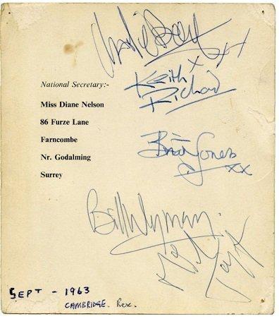 the rolling stones autographs sept 1963