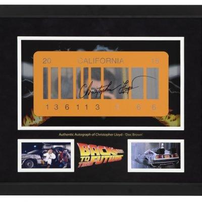 Christopher Lloyd Autograph for sale DeLorean plate | Back to the Future