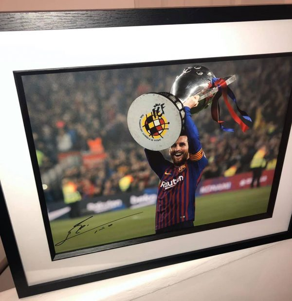 Lionel Messi signed Barcelona Trophy photograph Framed and Mounted