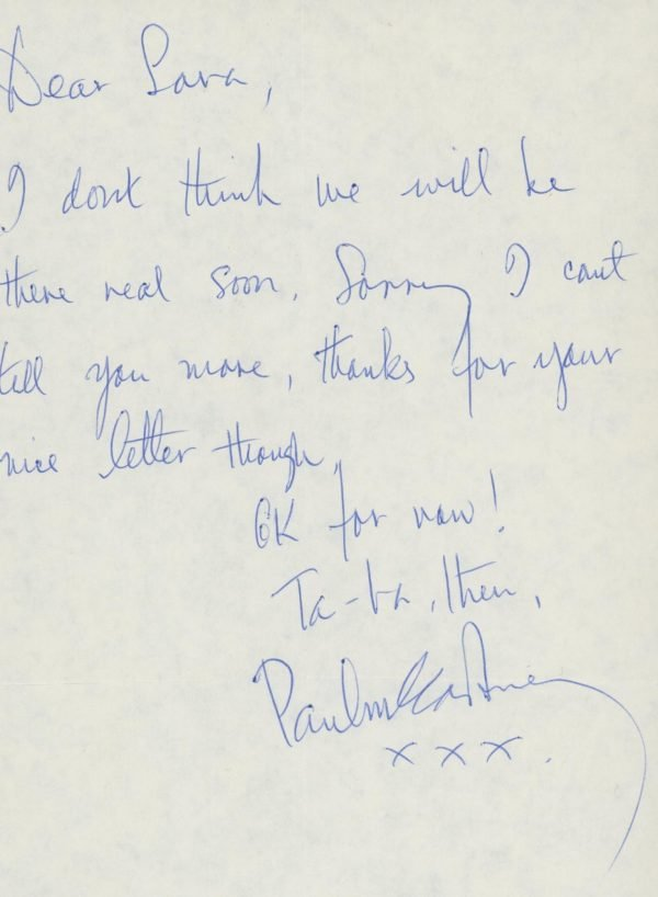 Paul McCartney Handwritten and Signed note | The Beatles