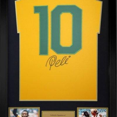 Pele signed Brazil football shirt #10 Authentic autograph