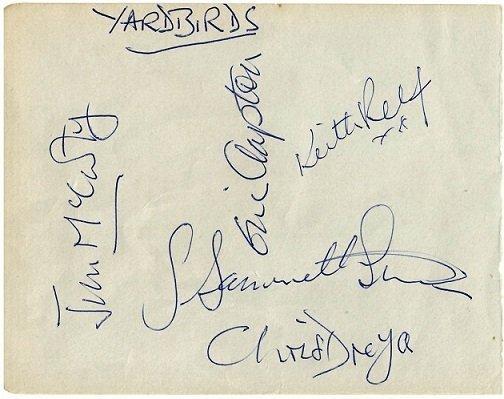 The Yardbirds autographs with eric clapton 6x4.5