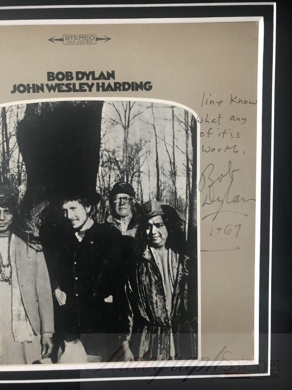 Bob Dylan All Along The Watchtower handwritten lyrics John Wesley Harding signed