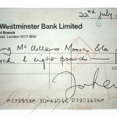 John Lennon autograph The Beatles signed Check / Cheque