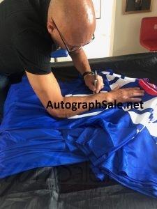Mark Hateley signing Rangers football shirts