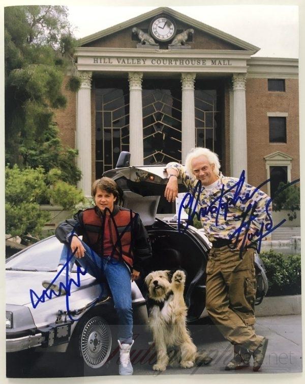 Back to the future autographs Michael J Fox Christopher Lloyd 8×10 photo