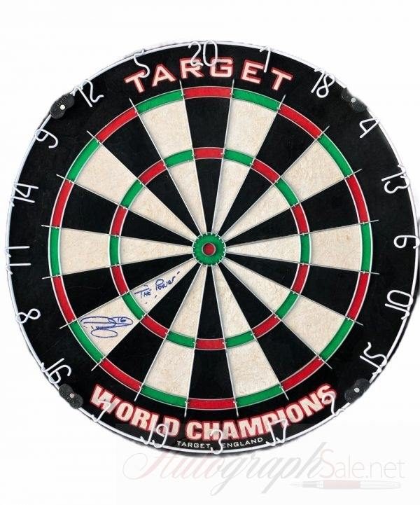 Phil Taylor signed Dartboard World champion memorabilia