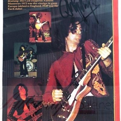Jimmy Page signed Magazine page Led Zeppelin vintage autograph